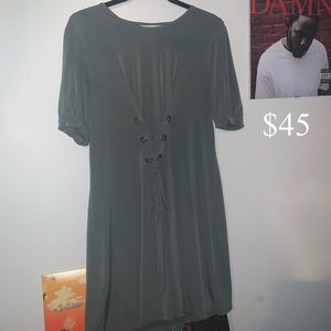 *WORN ONCE* KHAKI GREEN/GREY FRONT LACE UP DRESS